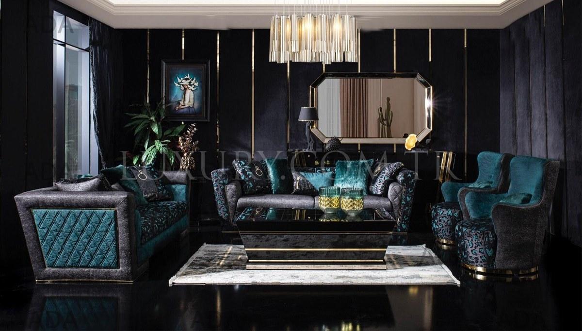 Black Gold Luxury Koltuk Takımı, Black And Gold Living Room