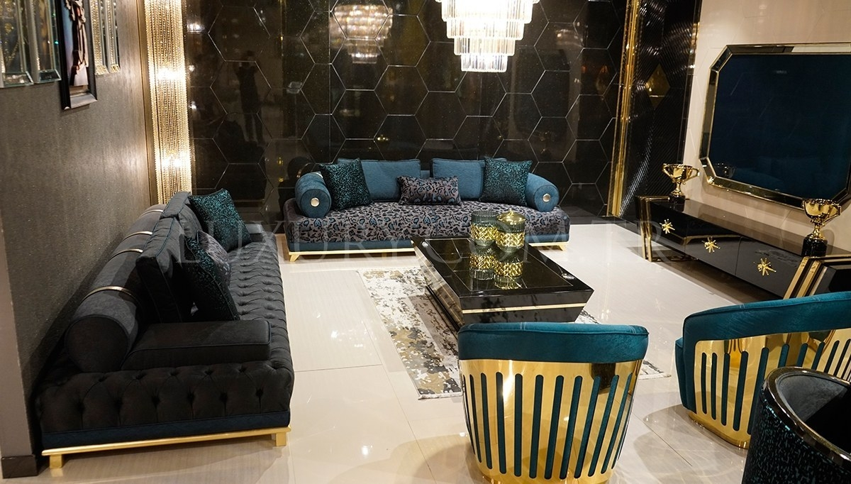 Black Gold Metal Koltuk Takımı Luxury, Black And Gold Living Room