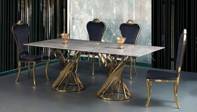Dalena Gold Metal Dinner Table