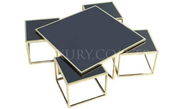 Guşina Gold Metal Coffee Table - Thumbnail
