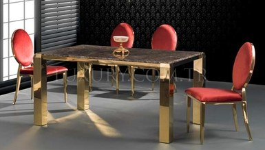 Helenas Gold Metal Dinner Table