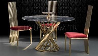 Lapisa Gold Metal Dinner Table
