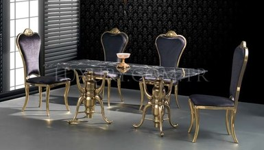 Portivo Gold Metal Dinner Table